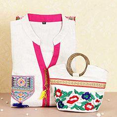Beautiful Embroidered Kurti and Hand Bag Combo @ http://www.rakhibazaar.com/return-gifts-to-sisters-101.html