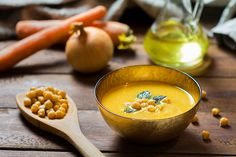 Creamy chickpea soup. Source of protein for vegetarians.
