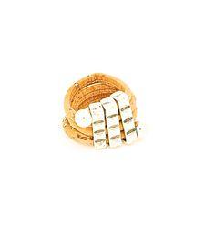 Uniquely Triple SIlver Bead Ring Light - Lufli Cork Ring #cork #ring #lufli