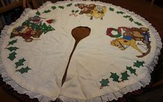 Janlynn Trio of Teddies Christmas Tree Skirt Cross Stitch Handcrafted