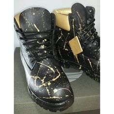 Custom Black and Gold 24K Timberland Boots- Hand Painted Timberlands-... ❤ liked on Polyvore featuring men's fashion, men's shoes, men's boots, timberland mens shoes, mens shoes, timberland mens boots, black and gold mens shoes and mens boots