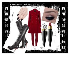 Lady in red by truownssky on Polyvore featuring polyvore, moda, style, Emporio Armani, Christian Louboutin, ncLA, women's clothing, women's fashion, women, female, woman, misses and juniors