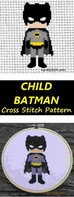 Child Batman Cross Stitch Pattern - Nerdstitch.com