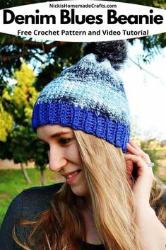 Learn how to crochet this Denim Blues Hat which is a Free Crochet Pattern by Nicki's Homemade Crafts you can make over the weekend easily. Video tutorial is provided also. It's the perfect Fall and Winter Hat with Pom pom. #crochet #hat #beanie #denim #blue #pom-pom #fauxfur #linkedcrochet #freecrochetpattern #crochetpattern Pom Pom Hat, Crochet Slippers, Homemade Crafts, Crochet For Beginners, Learn To Crochet, Double Crochet, Blue Denim, Free Crochet, Knitted Hats