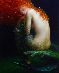 Mermaid Painting With A Flame Of Red Hair