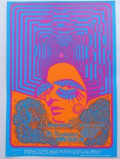 Rare psychedelic Dance Concert Janis Joplin Poster San Francisco 1967 - W.B.