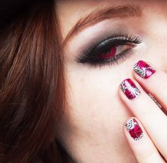 Make up Vampire Nails Nailart Flowers Reveerse Stamping Nailucie Ongle