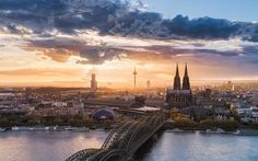 Download hd wallpapers of 247375-landscape, Nature, Cityscape, Cologne, Germany, Sunset, River, Church, Bridge, Sky, Clouds, Architecture, Urban, Cologne C