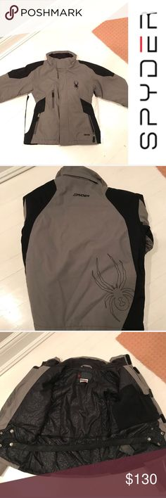 BOYS SPYDER WINTER COAT BOYS GRAY, BLACK AND WHITE SPYDER WINTER JACKET Very good condition  has some dirt on the sleeves as shown in picture but no rips or tears  LOTS of pockets  Buy 2 items get 3RD HALF OFF , Bundle discounts & accepting all reasonable offers !! Spyder Jackets & Coats Puffers