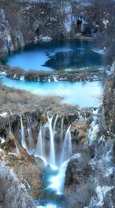 National park Plitvice Lakes in Croatia, frozen in winter.