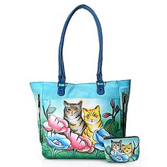 Anuschka Hand-Painted Leather Vertical Zipper Tote w/ Coin Pouch