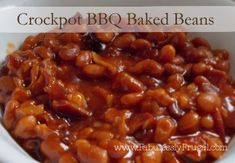 Easy 3 ingredient Crock Pot BBQ Baked beans.  So good and so easy you CANT mess them up!