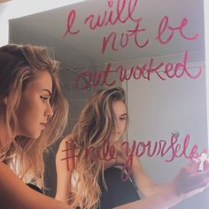 Cass:: I was writing an inspirational quote on every mirror in the house. I had just fine the last mirror when you come and hug me from behind