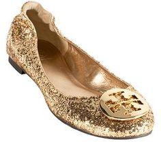FOR THIS SPRING! Tory Burch Gold Glitter Reva Ballet Flats