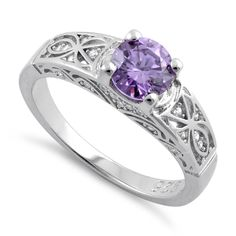 $11   Sterling Silver Amethyst Round Cut Engagement Ring