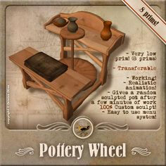 Call me crazy but i like the look of this: original poster said- pottery wheel from Second Life Pottery Tools, Pottery Wheel, Ceramic Clay, Ceramic Pottery, Beginner Pottery, Slab Ceramics, Throwing Clay, Pottery Techniques, Pottery Making