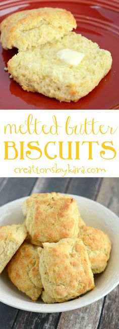 Recipe for melt in your mouth biscuits that are so simple to. Recipe for melt in your mouth biscuits that are so simple to make. These Melted Butter Biscuits are a new family favorite. They are perfect with a bowl of soup or served with butter and jam. Butter Biscuits Recipe, Homemade Biscuits, Homemade Butter, Best Breakfast, Breakfast Recipes, Dessert Recipes, Breakfast Muffins, Desserts, Tea Biscuits
