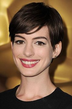 """Spring/Summer 2013 Hair Trends: Anne Hathaway The Cut: """"It has a long, sideswept bang and the back is short and heavily layered for a soft, feminine line,"""" Trending Haircuts, Cool Haircuts, Hairstyles Haircuts, Pixie Haircuts, Olivia Wilde, Short Hairstyles For Women, Celebrity Hairstyles, Anne Hathaway Haircut, Strong Women"""