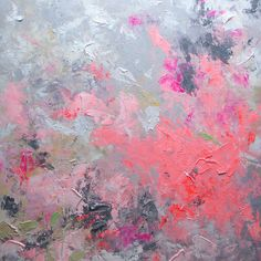 ELENA abstract painting textured painting  huge contemporary art pink orange painting 40x40.