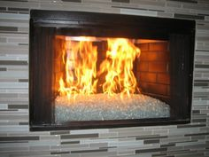 ventless gas log fireplace with black fire glass | Logs, Crystals ...