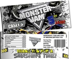 Monster Truck Jam Candy Bar Wrappers Party Favors #Birthday