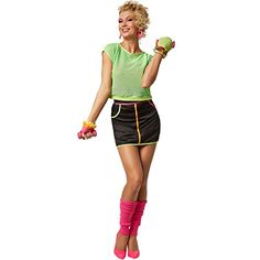 5 Piece Fitness Outfit for Ladies. Includes fingerless gloves, knitted leg warmers, mesh top with stretch hem and stretchy mini skirt with zip. 80s Workout, Workout Fitness, Best 80s Costumes, Ladies Fancy Dress, Dance Outfits, Fitness Fashion, Mini Skirts, Lady, Material