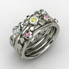 Stackable Mom ring with 3 kid birthstones, love.
