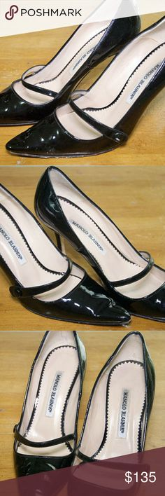 Manolo Blahnik vintage heels Size 37 Black shiny patent leather Some wear to toe tips Slight tiny dent to middle of left heel 3 1/2 in heel Manolo Blahnik Shoes Heels