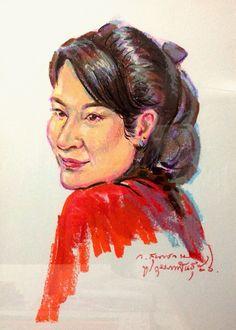 Technic : Oil Pastel on Paper by Wikorn Sundarachamara  @wigarabrand เสื้อยืดแนวอาร์ต #portrait #portraiture #oilpastel #painting #paint #art #artist #sketch #women #color #rcnocrop