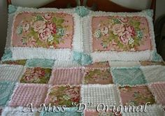 Raggy Quilt/Bedspread with Shams Wild Rose Farm by MissDOriginals