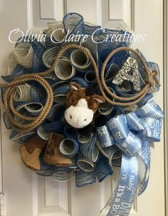 Curly Deco Mesh Wreath for Western Style Boys Baby Shower or Baby Boys Nursery Room.