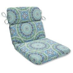 Outdoor/Indoor Delancey Lagoon Rounded Corners Chair Cushion - Pillow Perfect, Blue