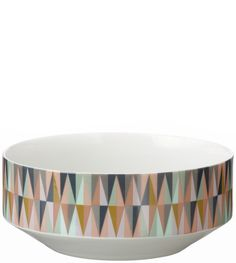 Printed in dusty, subdued hues, Ferm Living's geometric Spear bowl brings Scandinavian inspired style to a dining table or console.Spear Bowl