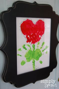 Valentine's art made from handprints-Incredibly cute! Could be used for Mother's Day too!