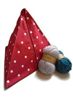 Red knitting bag, red project bag, spotty yarn organiser, UK knitting bag, Red spotty pyramid knitting bag. Sewing, knitting, stashing. UK