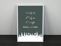 Merry Christmas Equation. PRINTABLE ART. Instant Download. Merry=Xmas. Christmas Tree Decor.