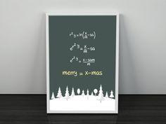 Merry Christmas Equation. PRINTABLE ART. Instant Download. Merry=Xmas. Christmas Tree Decor.