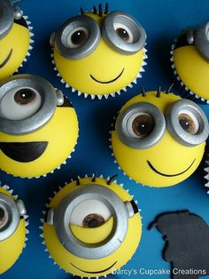 Despicable Me cupcakes by Darcy's Cupcakes. Cute. Great for a kid's party idea.