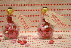 Light bulb valentine - light bulbs from Hobby Lobby.