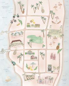 Palm Beach Lately's Map of Palm Beach Orlando, West Palm Beach Florida, Florida Usa, Florida Vacation, Florida Travel, Florida Beaches, Sandy Beaches, South Florida, Beach Pink