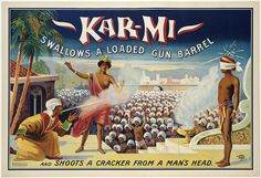 Kar-mi swallows a loaded gun barrel  : and shoots a cracker from a man's head. by Boston Public Library, via Flickr