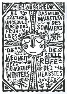 "Linocut ""Four Seasons"" (green on white) ⋆ Ulrike Hirsch - Linocut prints ⋆ Ulrike Hirsch -"