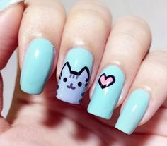 The Cutest Animal Nail Art 2014 - Be Modish - pusheen nails nail design bmodish dot com Cat Nail Art, Animal Nail Art, Cat Nails, Cat Nail Designs, Best Nail Art Designs, Nails Design, Nails Ideias, Nail Art 2014, Kawaii Nails