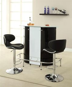 Contemporary Black White Metal Glass Bar Table