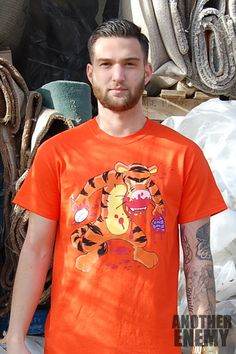 Zombie Tiger T Shirt in Orange - $32.00 - www.AnotherEnemy.com - Another Enemy