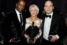 Dame Helen Mirren crowned best actress at Evening Standard Theatre Awards - Award winners: Dame Helen Mirren with Adrian Lester, left & Rory Kinnea