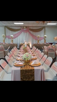 Blush pink and gold reception decor. Reception Backdrop, Reception Decorations, Table Decorations, Short Scripts, Pink And Gold, Blush Pink, Low Centerpieces, Shutterfly, Draping