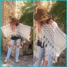 ✨HP BOHEMIAN FRINGED PONCHO Cream flowered design, scalloped edge sleeves, fringed bottom, 100%cotton NWT✨HOST PICK by @lalalily La Vie 89 Tops
