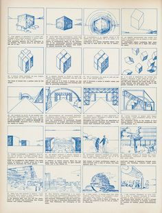 "Superstudio, Story board for the film on the Continuous Monument, ""Casabella"" Magazine No.358, 1971. 2/4"