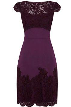 Exquisite scoop-neck lace dress.